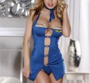 841016 — Костюм бортпроводницы (платье, стринги, галстук и головной убор) голубой-OS